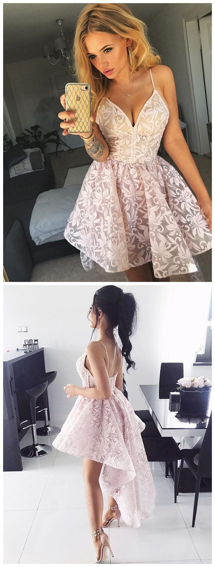 Sexy high low floral prom dresses spaghetti strap pink lace
