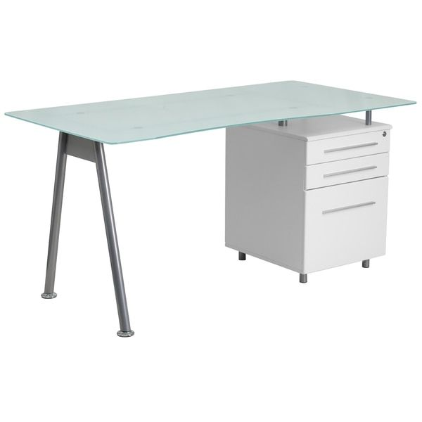furniture for computers at home. Flash Furniture Computer Desk With Glass Top And Three Drawer Pedestal For Computers At Home E