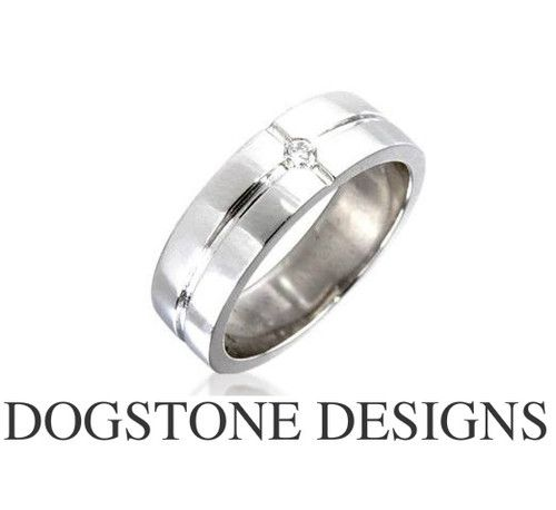 Mens Diamond Wedding Ring 9ct White Gold Band By Dogstone