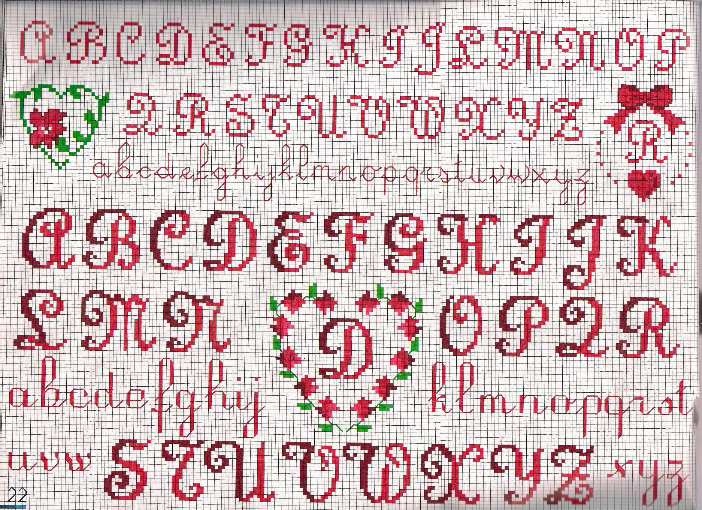 Alfabeto cuore punto croce uncinetto for Punto croce schemi alfabeto