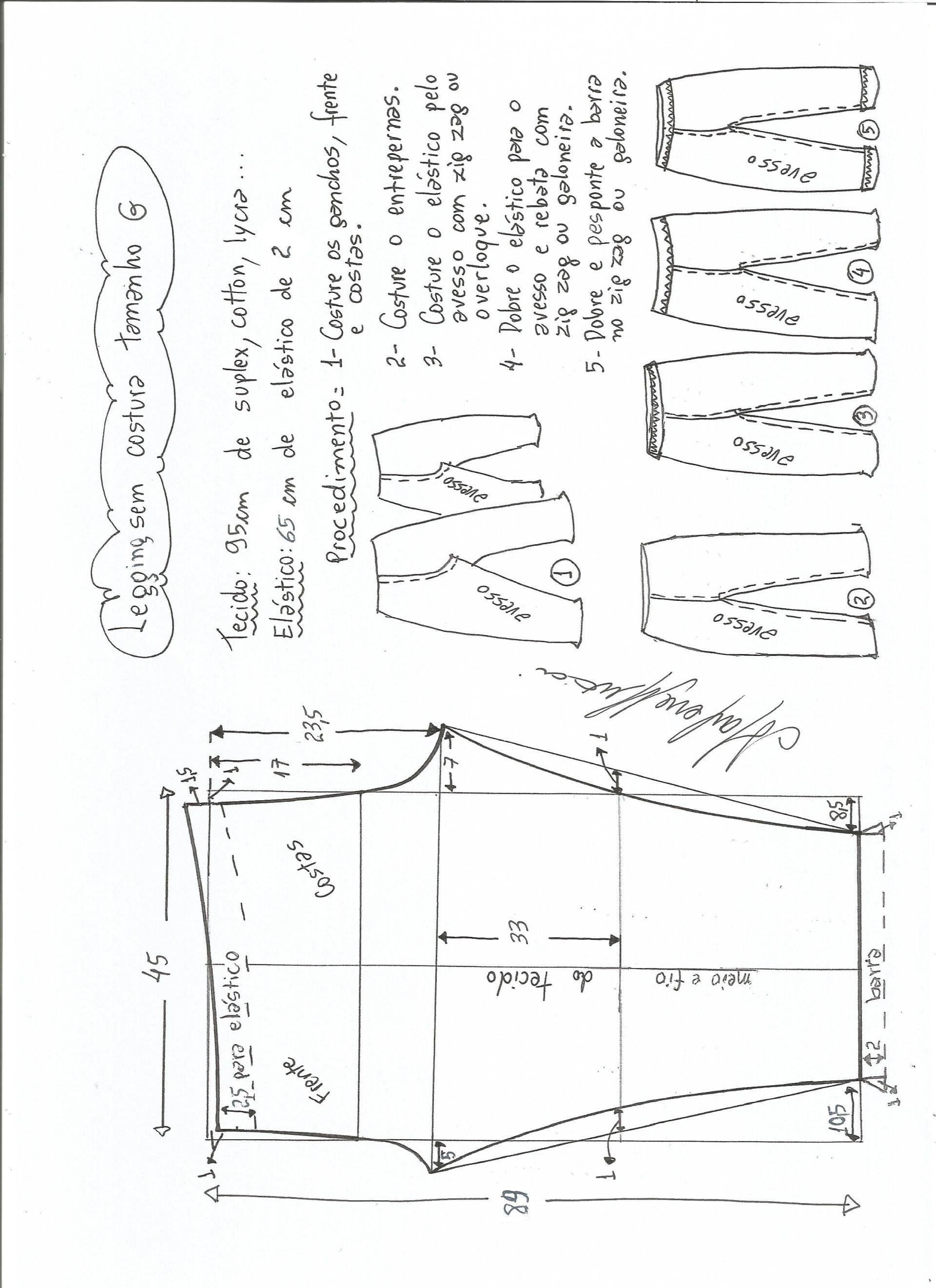 legging sin costural-L | moldes | Pinterest | Patrones, Costura y ...