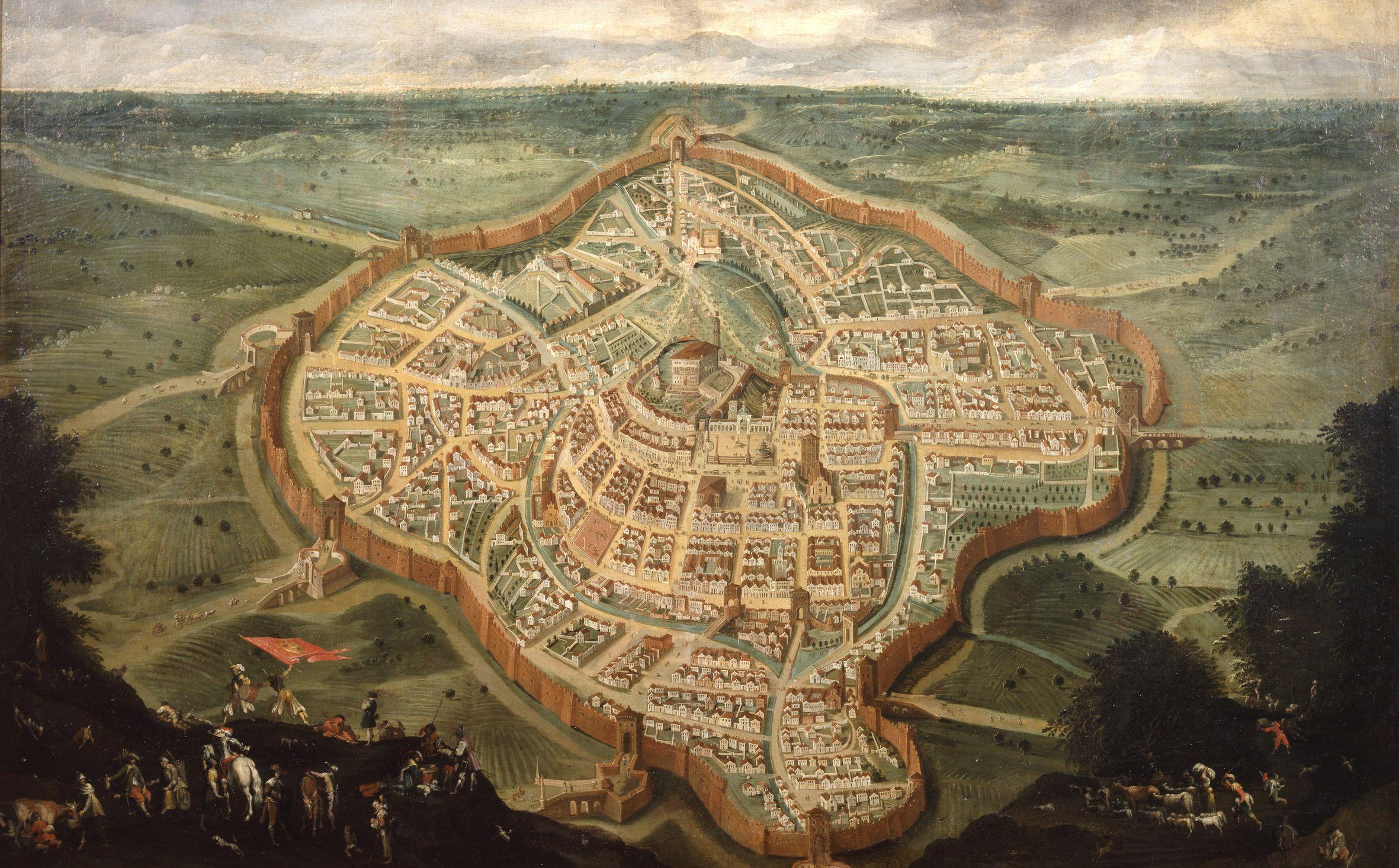 Giovanni Battista Cosattini (?), Pianta della città di Udine, sec. XVII. Udine, Galleria d'Arte Antica.