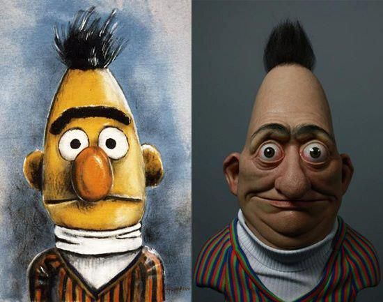 Creepy Real Life Version Of Bert Of Sesame Street Muppet