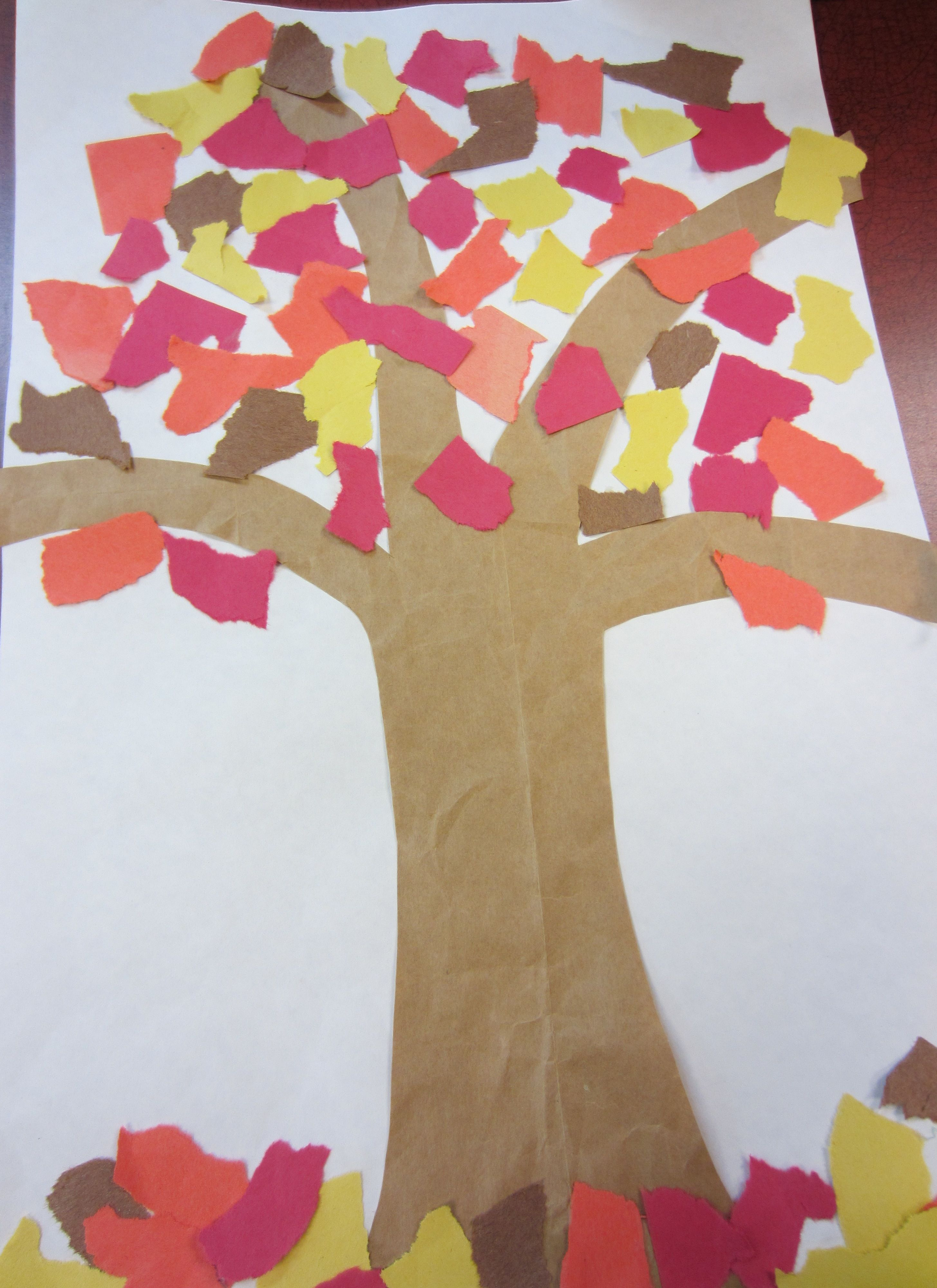 Tear fall colored construction paper into small pieces and glue - Glue It Onto A Large Sheet Of Construction Paper Create Leaves By Tearing Autumn Colored Construction Paper Into Pieces Glue The Torn
