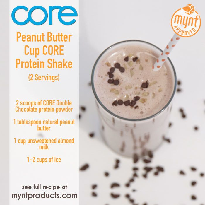 Peanut Butter Chocolate Protein Shake – This Peanut Butter Chocolate Protein Shake is for all you Chocolate Lover's! Ingredients (2 servings): 2 scoops Double Chocolate CORE protein powder 1 tbsp. natural peanut butter 1 cup unsweetened almond milk 1-2 cups ice Directions:: Add all ingredients to blender and blend for up to 60 seconds or until smooth. Enjoy!