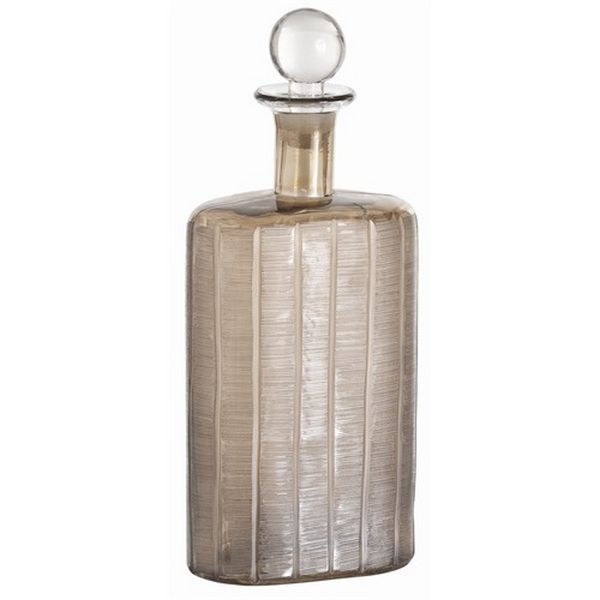 Conde Smoke Luster Etched Glass Decanter  H: 13'' • W: 5 1/2'' • D: 3''  $141