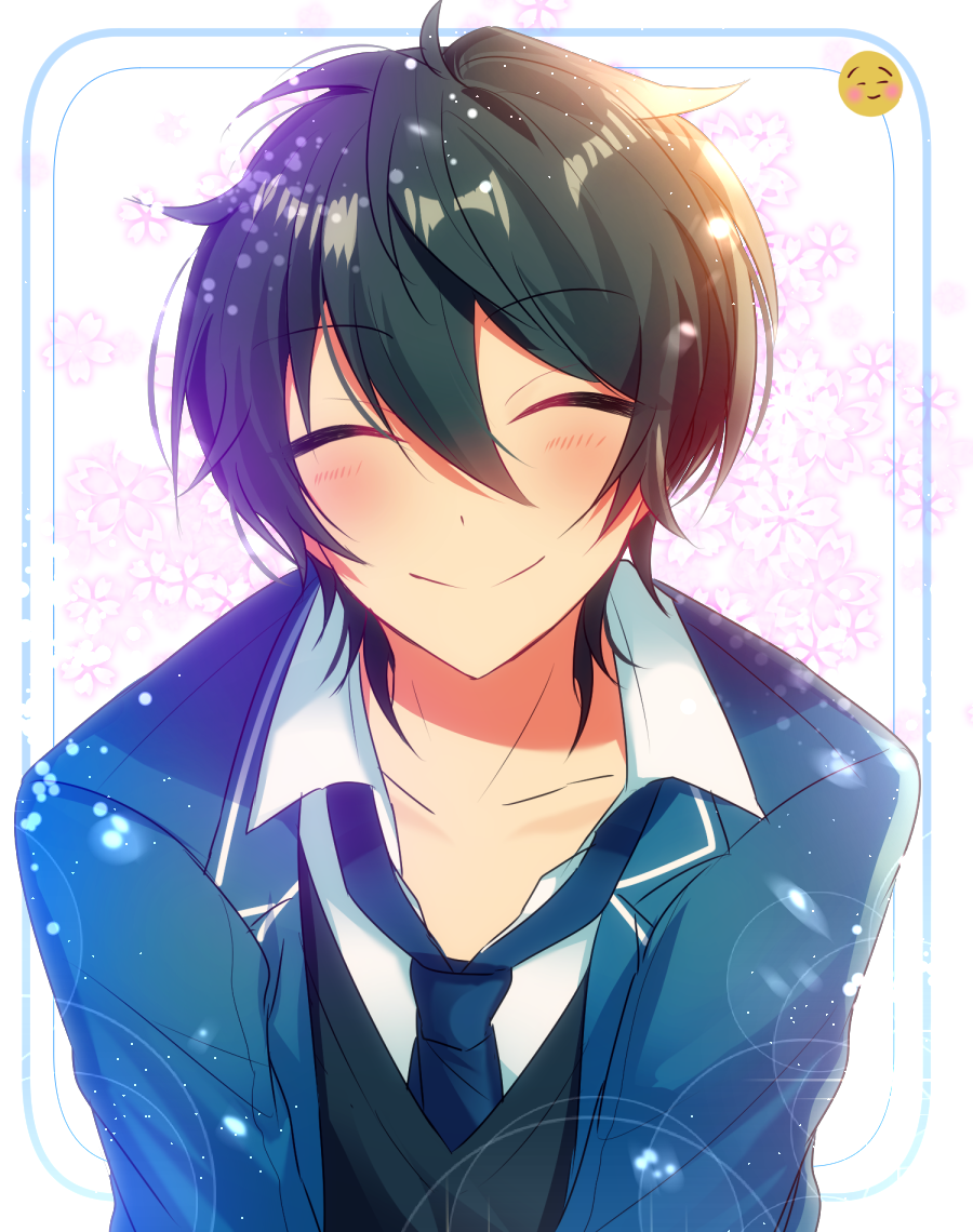 handsome shy anime boy with fluffy black hair and blue