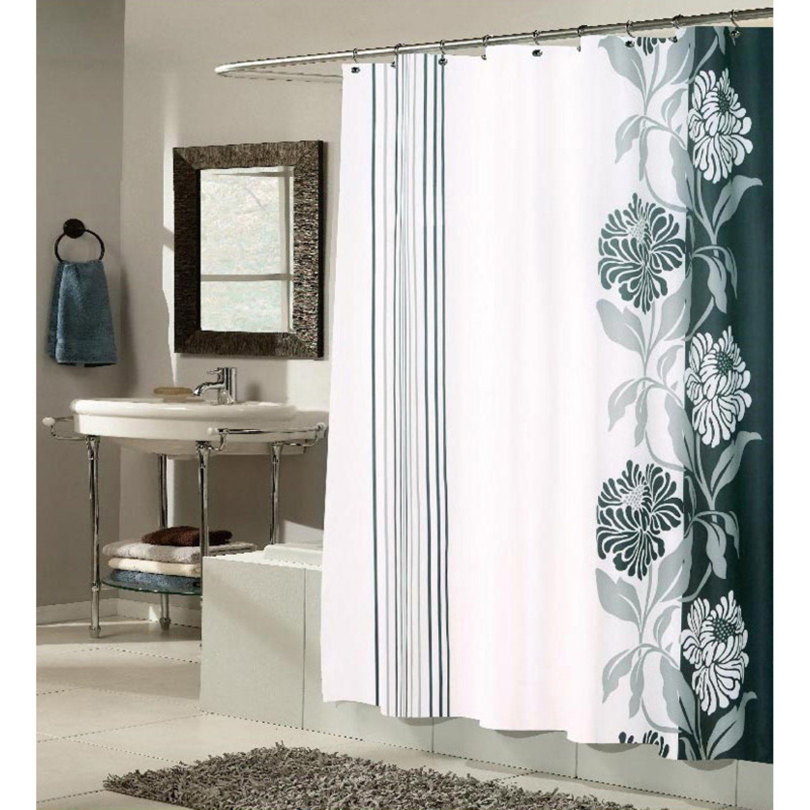 Carnation Home Fashions Chelsea Flower And Stripes Fabric Shower