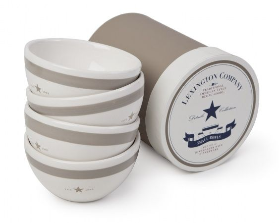 The beige/white bowl from Lexington is made from earthenware and matches the Lexington details assortment. Each bowl has the classic handpainted beige border and the handstamped star and comes in a classic Lexington box.