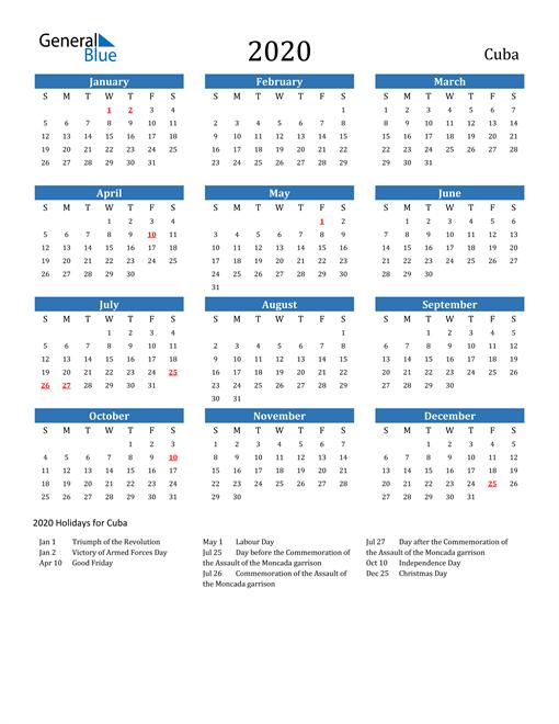 2020 Calendar Cuba With Holidays In 2020 Calendar Printable Calendar 2021 Calendar