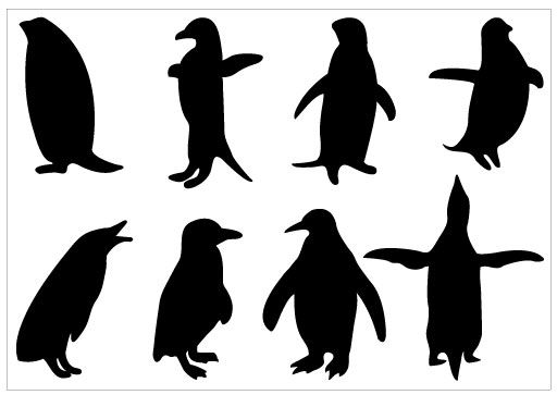 Penguin Silhouette Clip Art Pack Template Silhouette Clip Art - penguin template