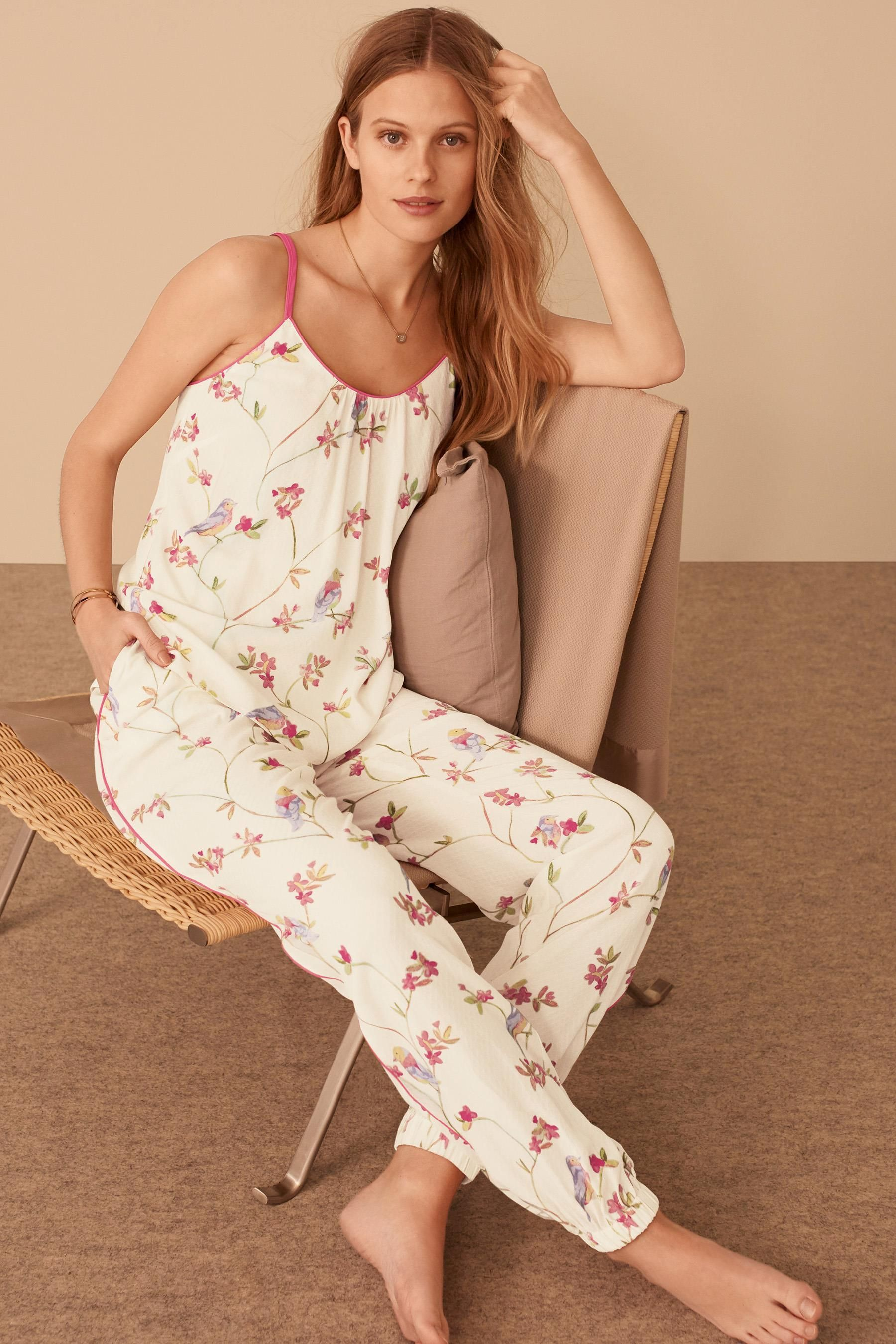 e611c0e2e1 Buy Cream/Pink Bird Print Woven Pyjamas from the Next UK online shop ...