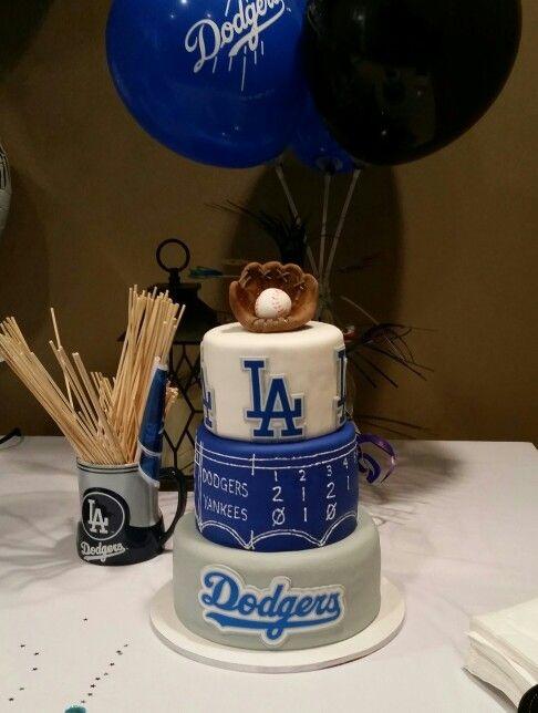 Pleasing La Dodgers Birthday Cake Baseball Birthday Party Dodgers Party Funny Birthday Cards Online Benoljebrpdamsfinfo
