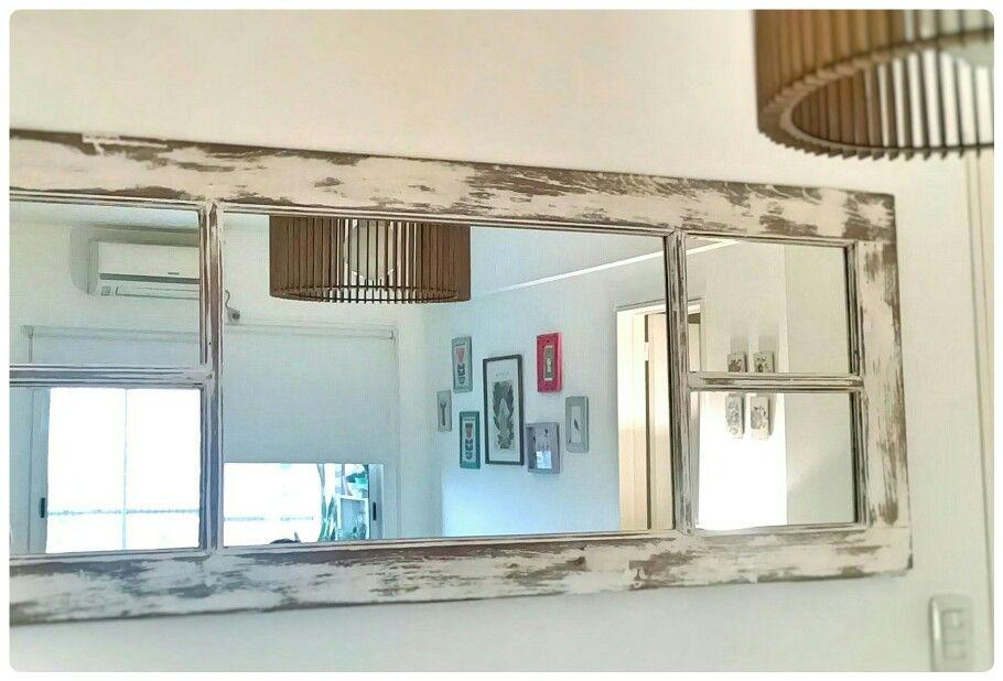 Ventana madera antigua decapada restaurada con espejo by Dolita ...