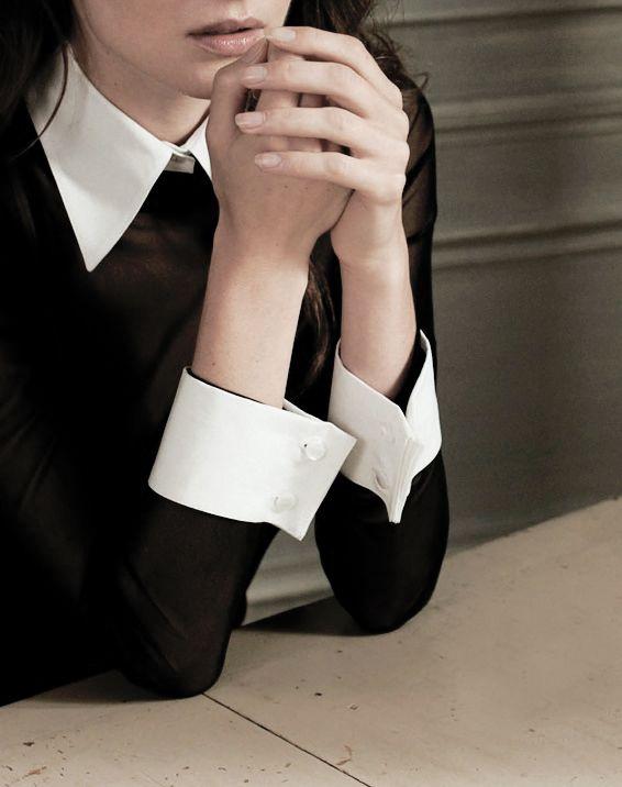 Spring Fashion in Black and White   White collar, Cotton blouses ...