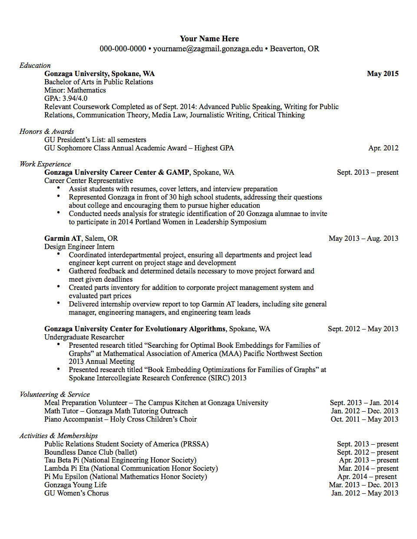 Pin By Gonzaga University Career Pr On Professional Documents Nursing Resume Template Resume Resume Software