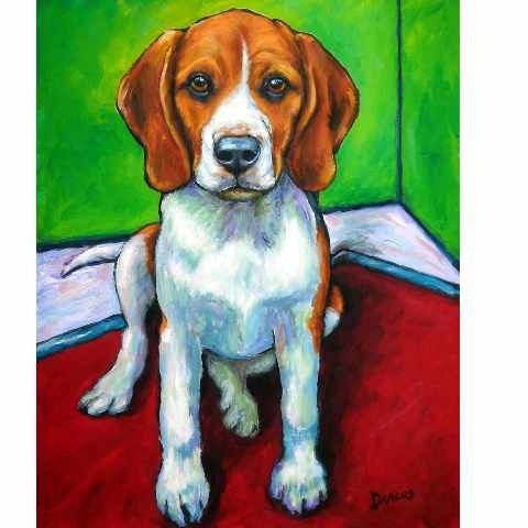 Beagle Dog Art 12x15 Print of Original Painting by by DottieDracos, $25.00