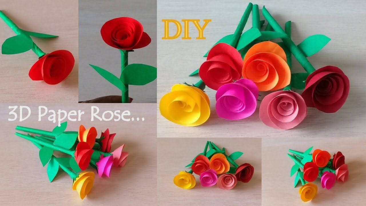 How To Make 3d Paper Roses Diy Rose Making Tutorial Beautiful Paper F Paper Roses Paper Roses Diy Paper Flower Tutorial