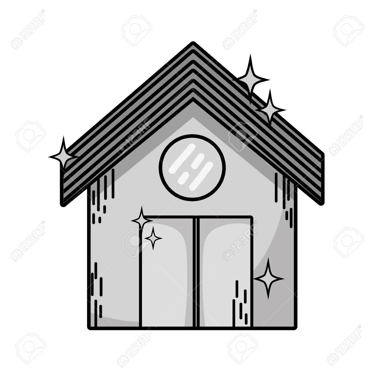 Grayscale Clean House With Roof And Door Design Illustration Ad House Clean Grayscale Roof Illustration Door Design Grayscale Clean House