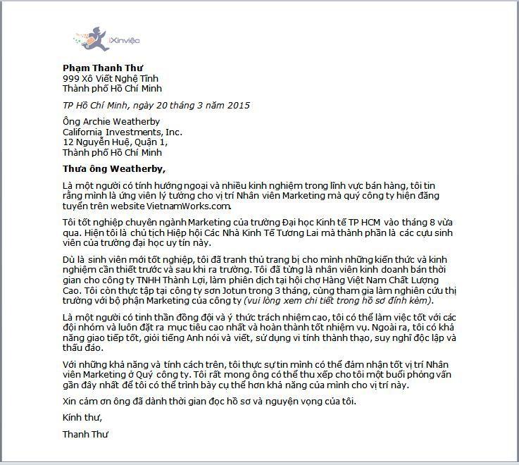 Mu Th Xin Vic Dnh Cho Sinh Vin Mi Tt Nghip  Cover Letter