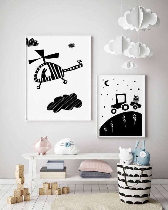 Tractor Black And White Nursery Print Car Wall Art Boy Nursery Interesting Tractor Themed Bedroom Minimalist