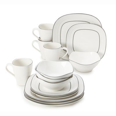 Buy Mikasaa Swirl 16 Piece Graphite Banded Square Dinnerware Set In White From Bed Bath Beyond Square Dinnerware Set Dinnerware Dinnerware Sets