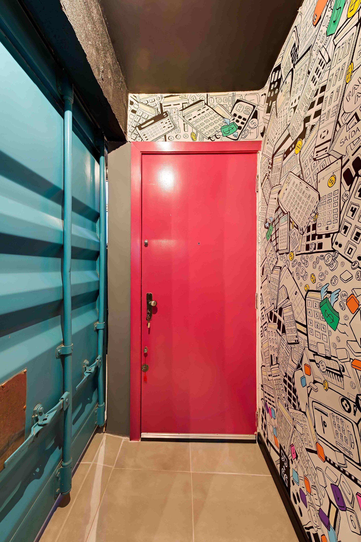 Industrial bathroom container door black small apartment wall
