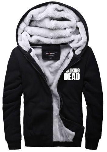 New Men/'s Winter Sweatshirts Jackets Thick Velvet Hooded Zip Coat Hoodies