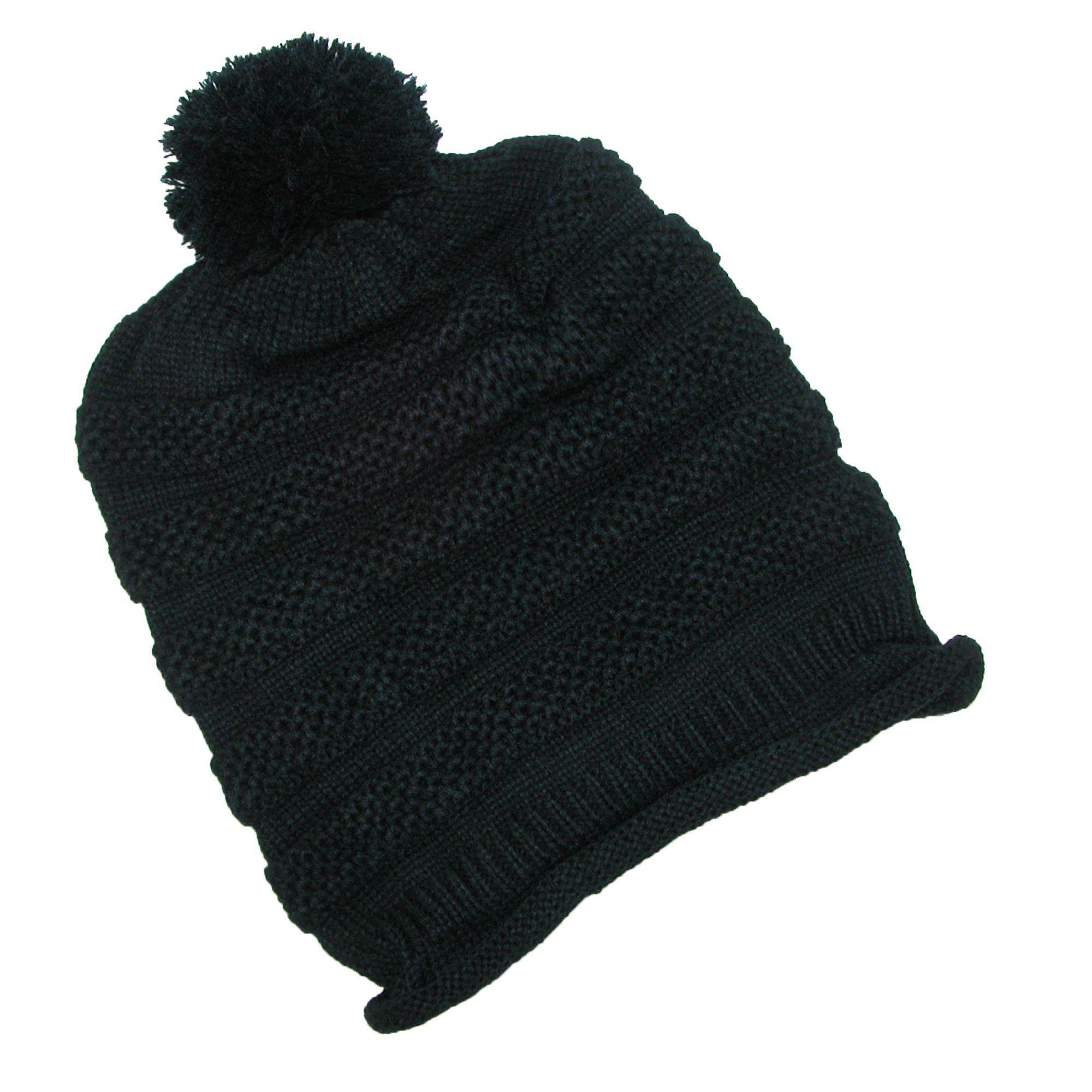 e71cc642c05 Dynamic Asia Women s Textured Knit Beanie Hat with Pom Pom