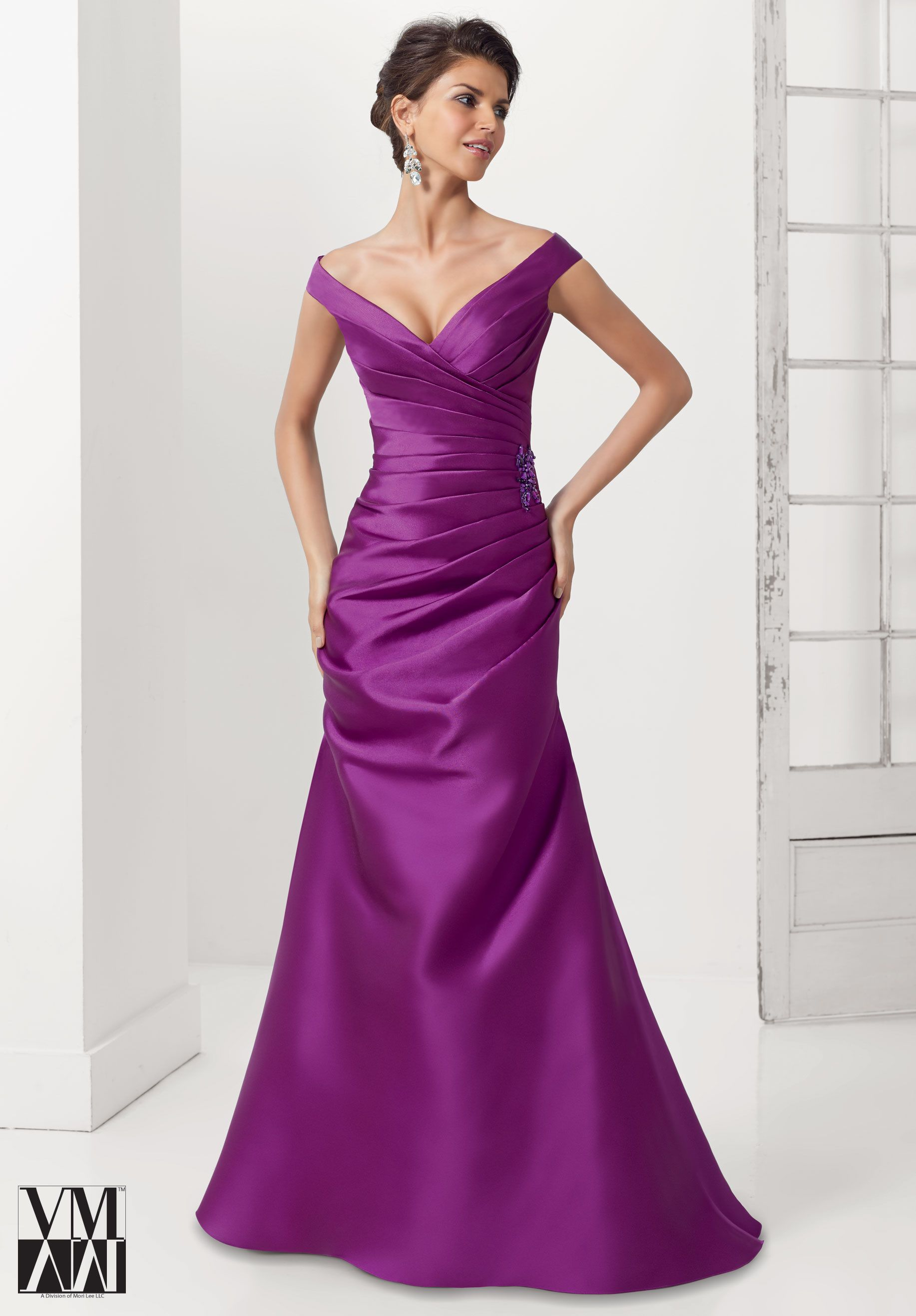2a3de63ee5 71104 Evening Gowns   Dresses Larissa Satin with Beaded Applique Purple