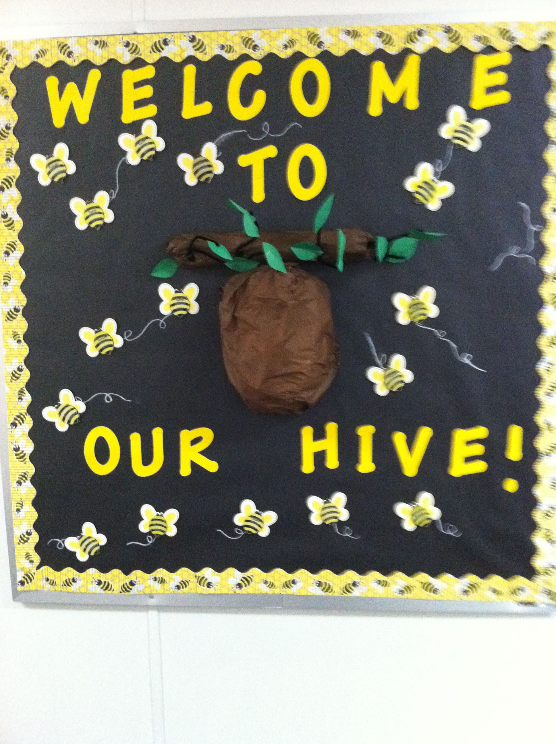 Classroom Ideas With Bees ~ My bee themed bulletin board the first week of school