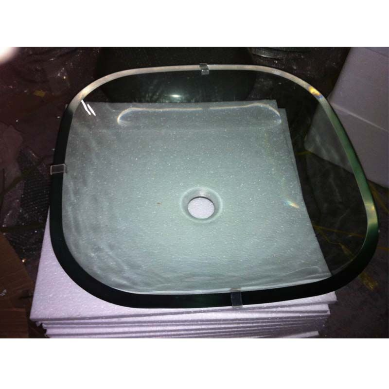Factory Directly Transparent Square Glass Vessel Sinks For Sale