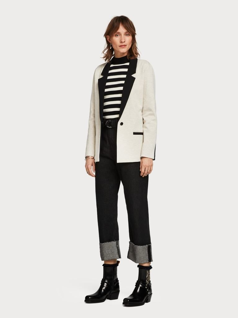 Grey marl single button boyfriend jacket