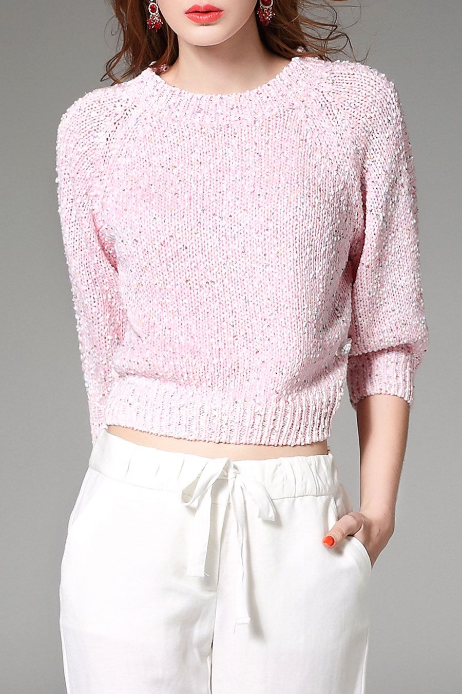 Nexiia Pink Short Sequined Sweater | Sweaters at DEZZAL