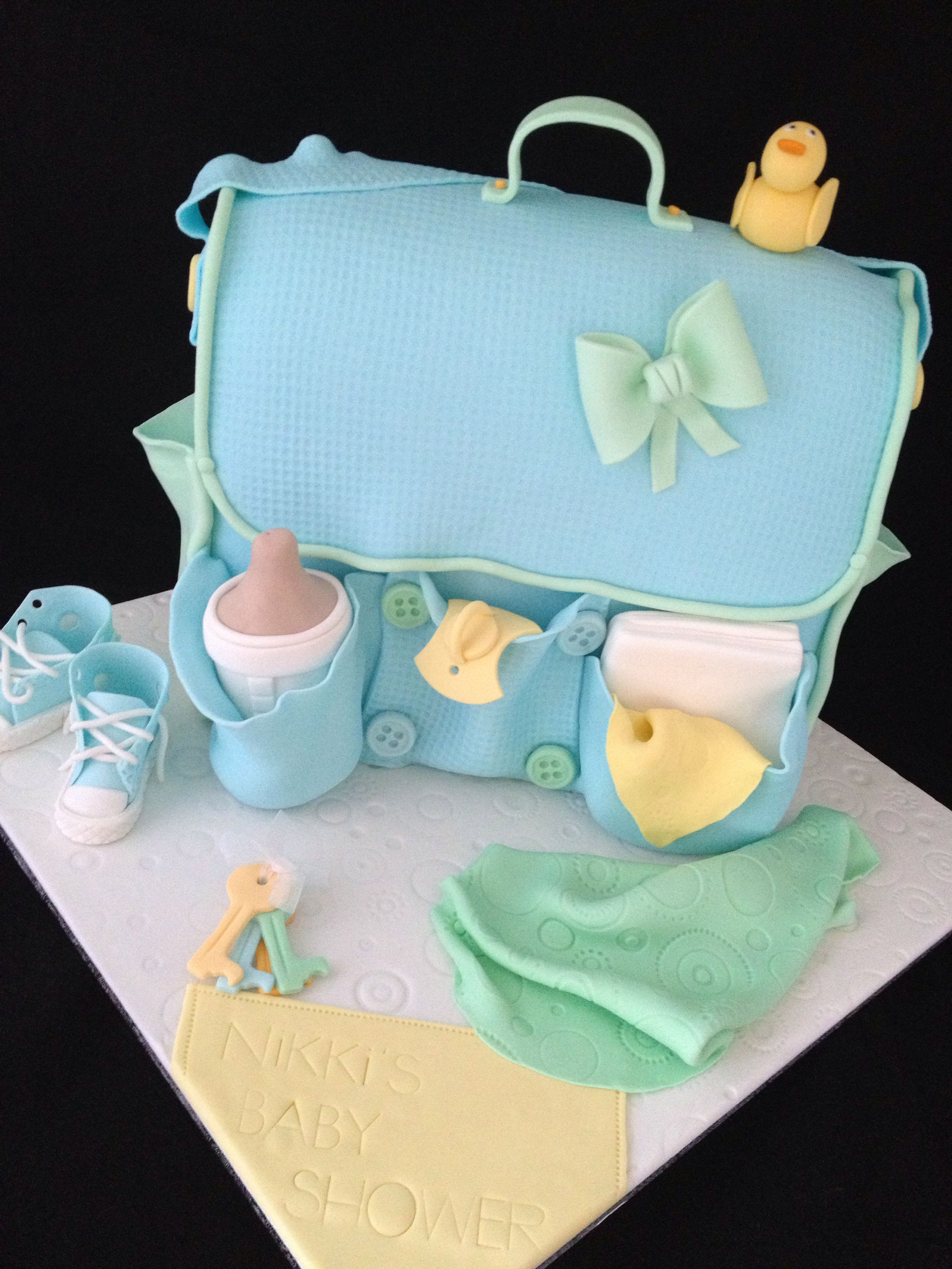 a9e1486ceb83 Nappy change bag cake! Baby Shower Cakes For Boys