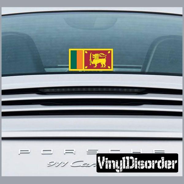 Sri lanka 2 flag sticker car or wall vinyl decal