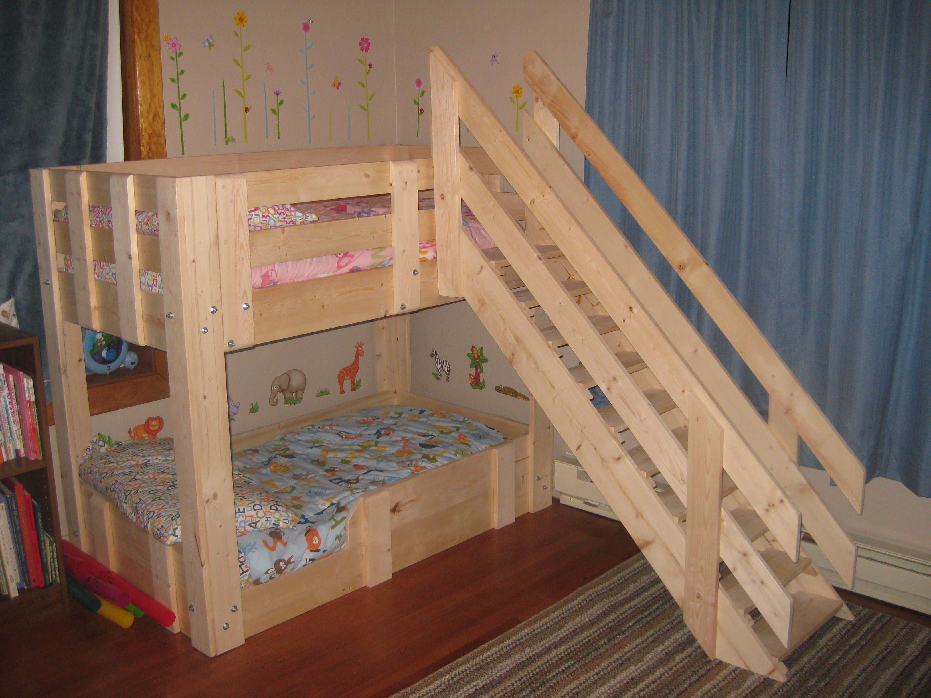 Our new toddler bunk beds, built by a friend. These take a