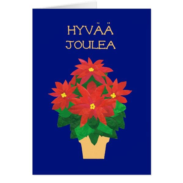 Red poinsettias on blue finnish language greeting card cards red poinsettias on blue finnish language greeting card m4hsunfo