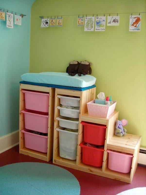 10 Idees Originales Pour Utiliser Les Trofast D Ikea Cabane A Idees Table A Langer Murale Meuble Trofast Rangement Jouet Ikea