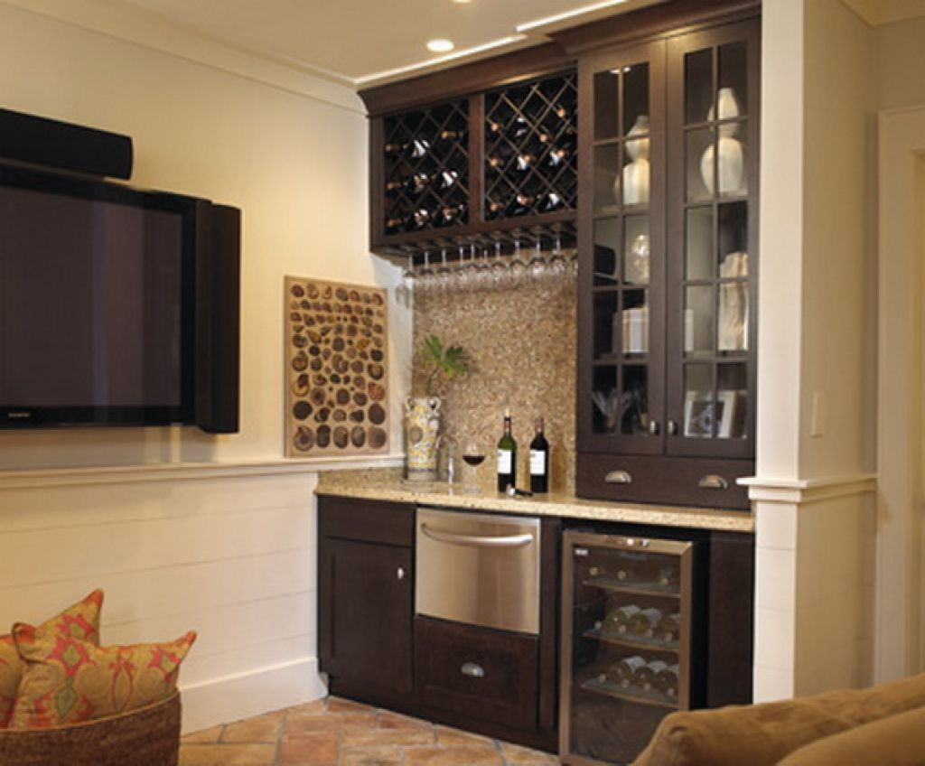 Wet Bar Design With Dark Wood Cabinetry And A Light