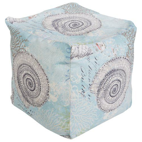 Surya 18 x 18 in. Outdoor Seashell Cube Pouf - POUF-288