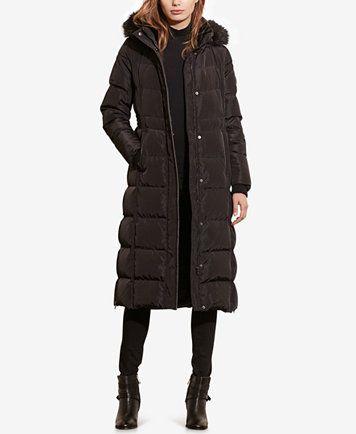 Lauren Ralph Lauren Faux-Fur Quilted Puffer Maxi Down Coat ...