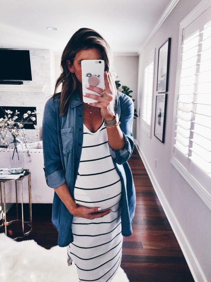a9f183f939 Striped Maxi Maternity Dress and Denim Pairing