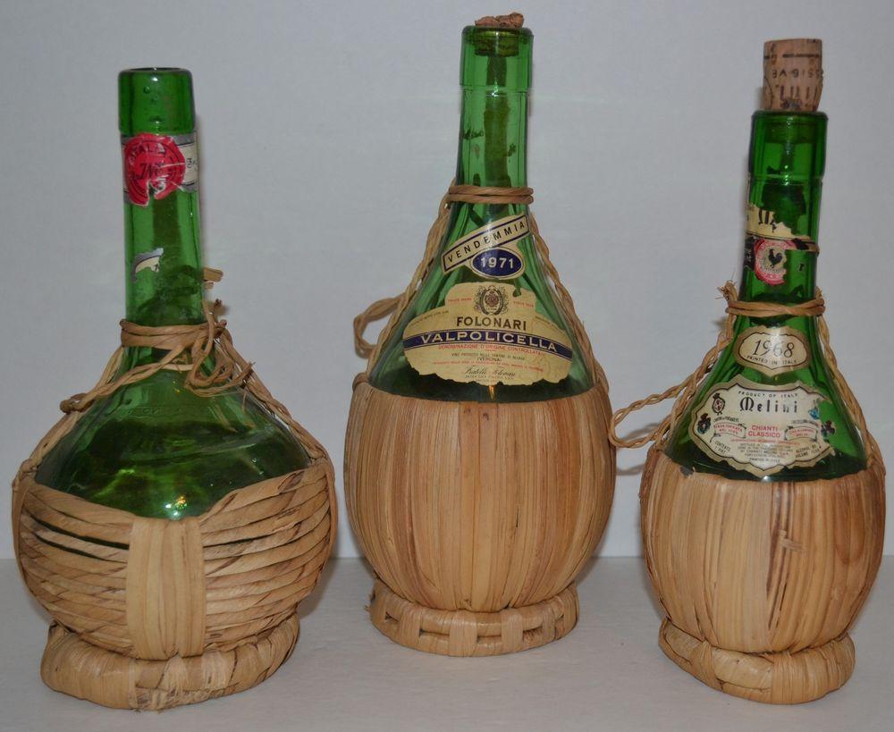 Vintage bottle lot 3 italian wicker covered chianti for Empty wine bottles