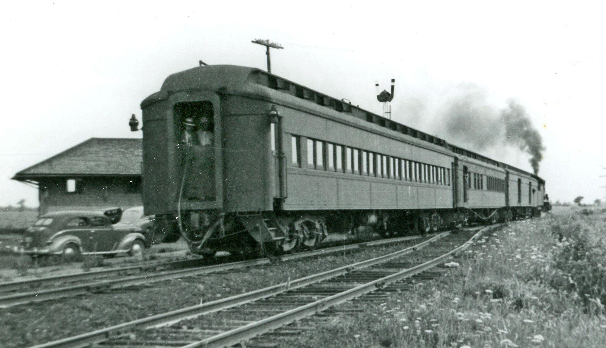 Ann Arbor Railroad passenger train at Dundee, Michigan, c