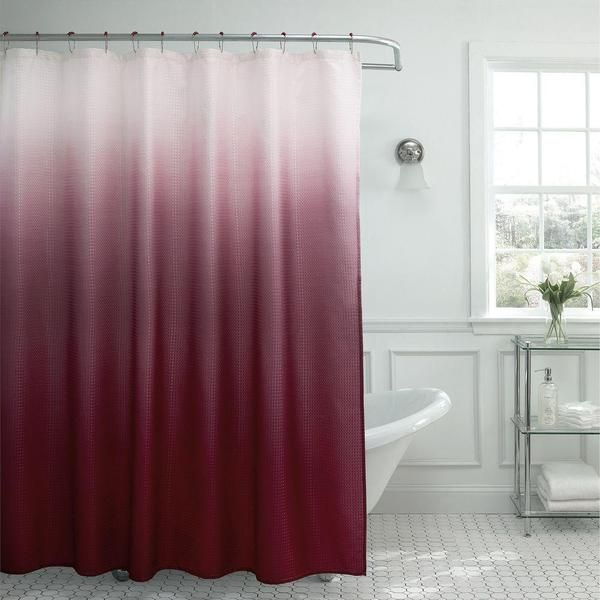 Modern Ombre Waffle Weave Shower Curtain With Matching Metal