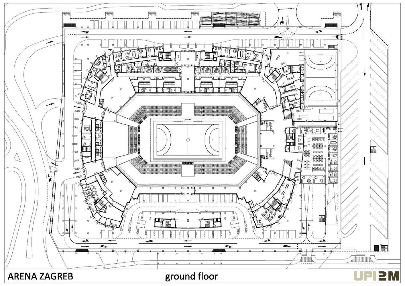 Gallery Of Arena Zagreb Upi 2m 36 Ground Floor Plan Zagreb Arena
