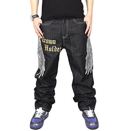 c841fe3ac0ed Zero Men s Hip Hop Graffiti Print Baggy Jeans Denim (30