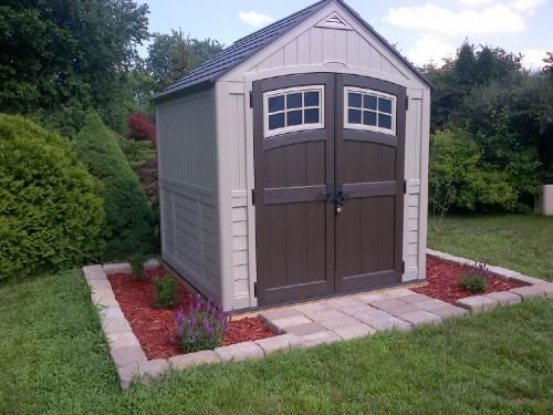 Suncast Sutton 7 ft. 3 in. x 7 ft. 4.5 in. Resin Storage Shed-BMS7791 at The Home Depot & Sutton 7 ft. 3 in. x 7 ft. 4.5 in. Resin Storage Shed Browns/Tans ...