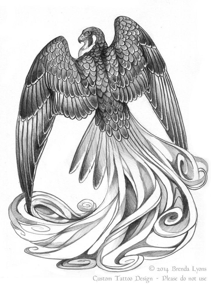 Stylized Fantasy Falcon Tattoo Design by windfalcon on ... White Falcon Bird Tattoo
